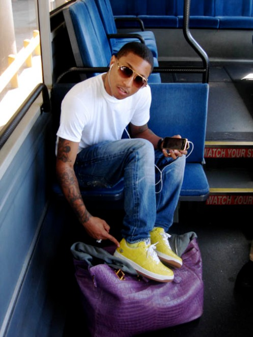 Pharell with Purple Chloe Cyndi Tote and Yellow Croc Sneakers